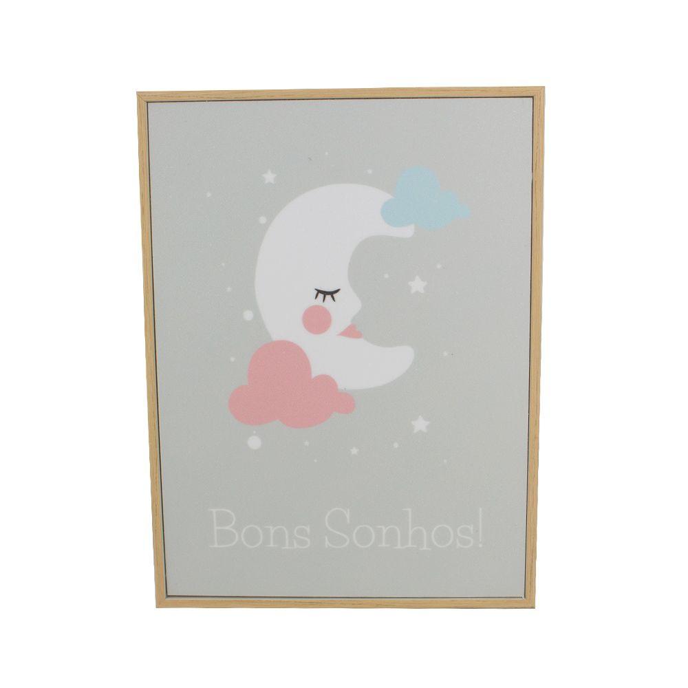 Quadro Decorativo Infantil - Lua - Nuvens - Bons Sonhos  - Shop Ud