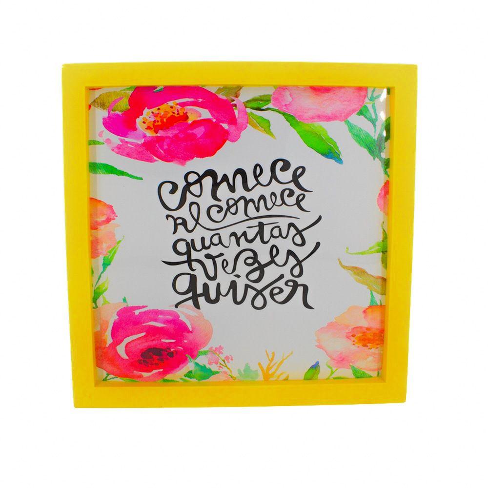 Quadro Decorativo – Moldura Amarela (Comece e Recomece) - 25x20  - Shop Ud