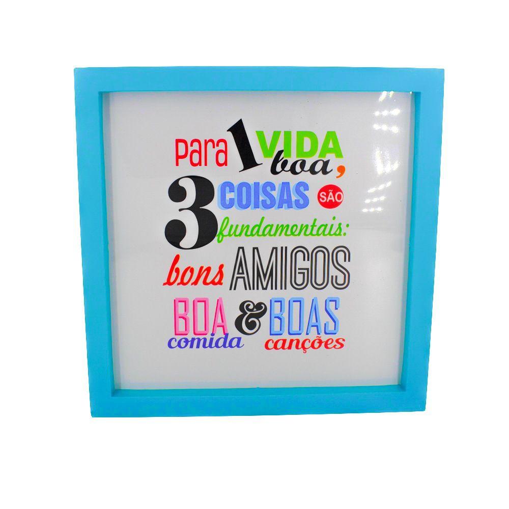 Quadro Decorativo – Moldura Azul (Para uma vida boa) - 25x20  - Shop Ud