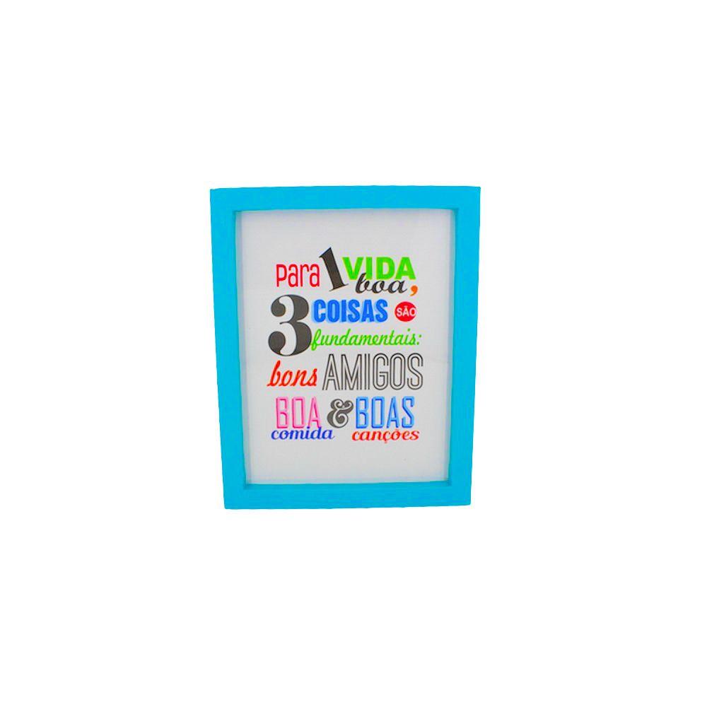 Quadro Decorativo – Moldura Azul (Para uma vida boa) - 25x25cm  - Shop Ud