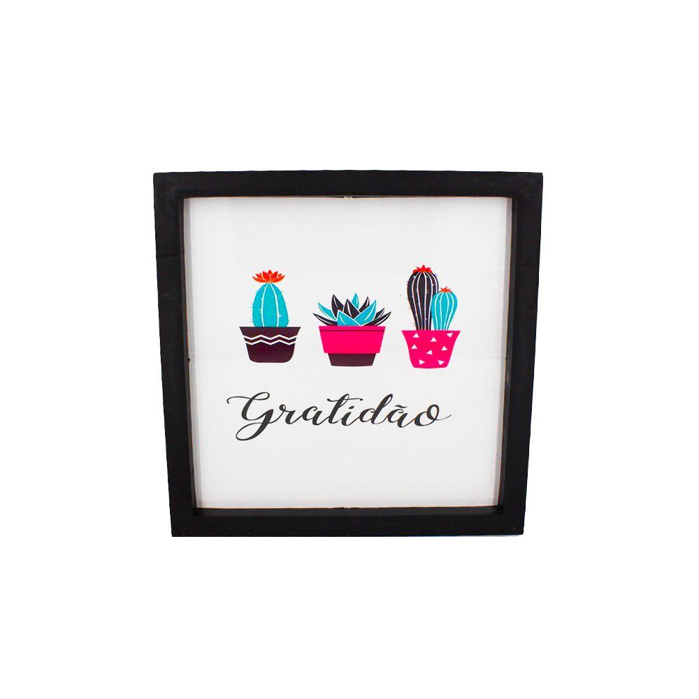 Quadro Decorativo – Moldura Preta (Cactos - Gratidão) - 25x20  - Shop Ud