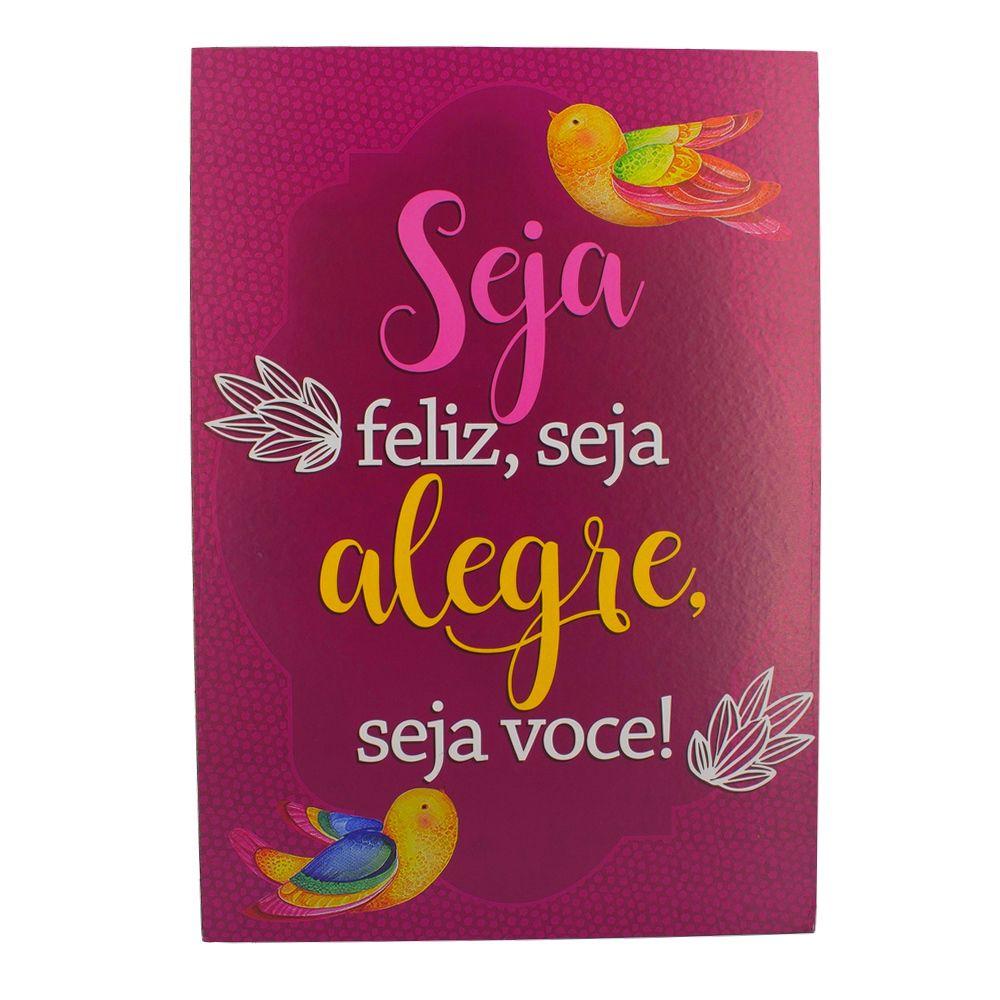 Quadro Decorativo – Seja Feliz (Rosa) MDF  - Shop Ud