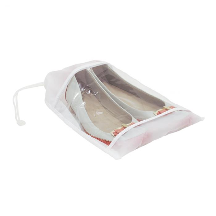 Saco para Sapatos com Visor Transparente-  Branco