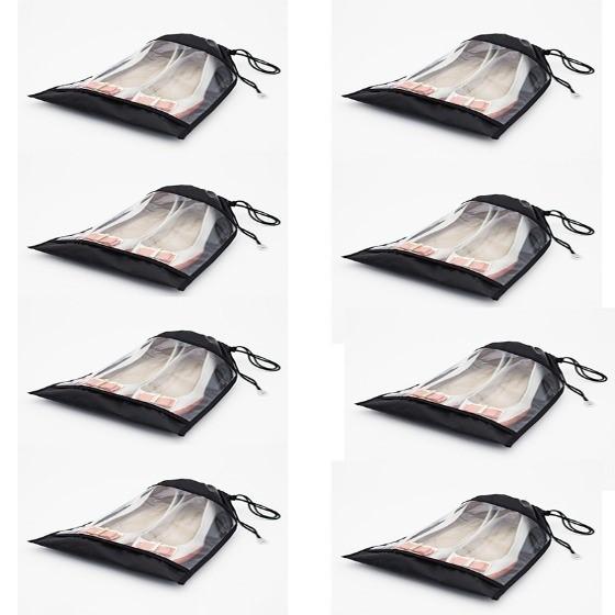 Saco para Sapatos VB Home com Visor Transparente Preto 8 peças
