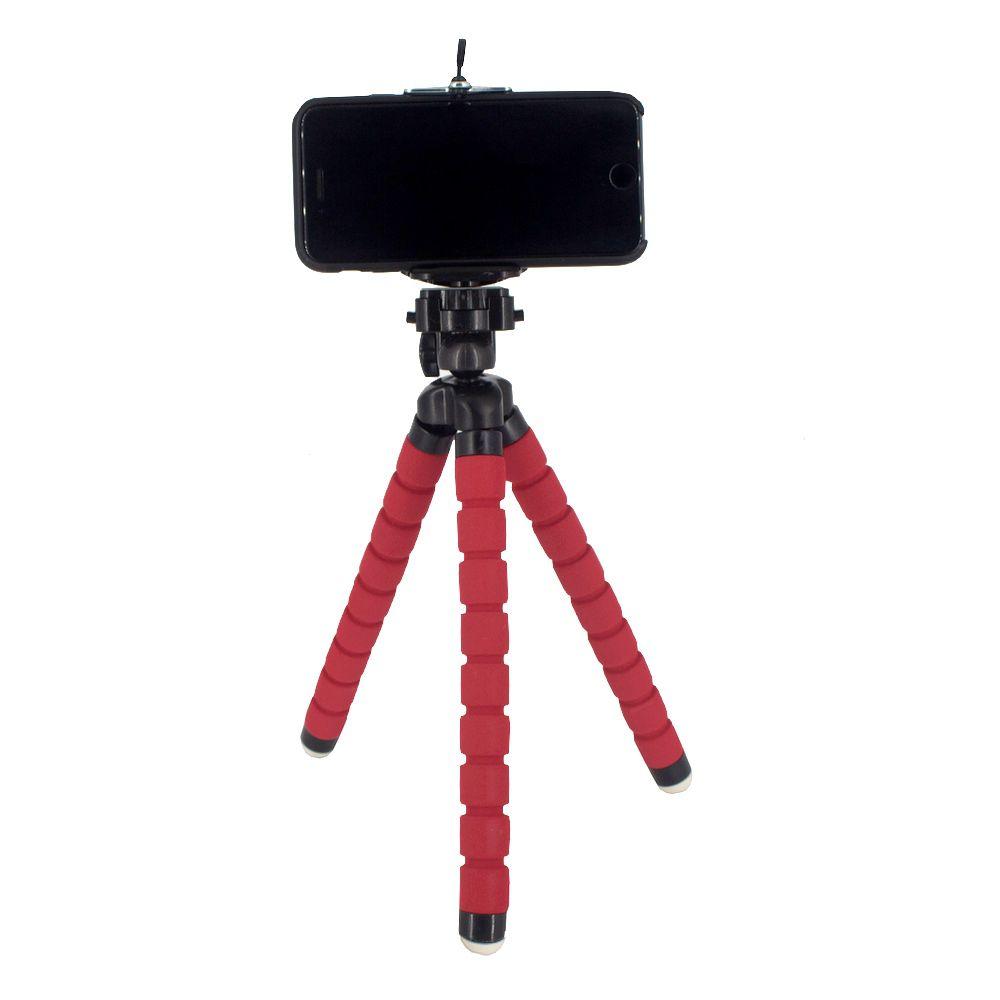 Suporte Celular Câmera com Tripé Flexível - Vermelho