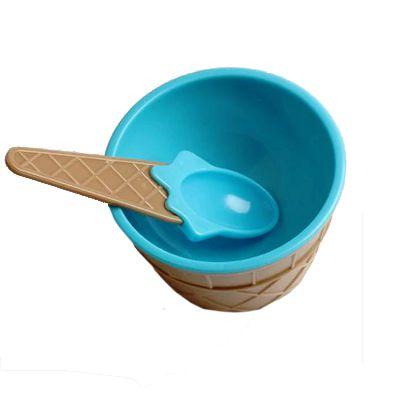 Taça de Sorvete em Plástico com Colher Azul