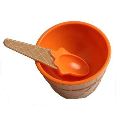 Taça de Sorvete com Colher em Plástico Laranja
