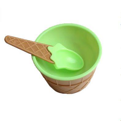 Taça de Sorvete com Colher em Plástico Verde
