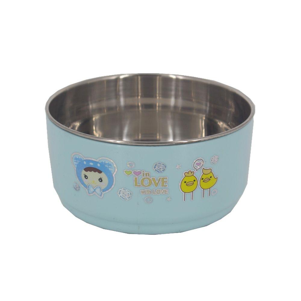 Tigela Bowl Infantil com Alça e Colher - Aço Inox - Azul  - Shop Ud