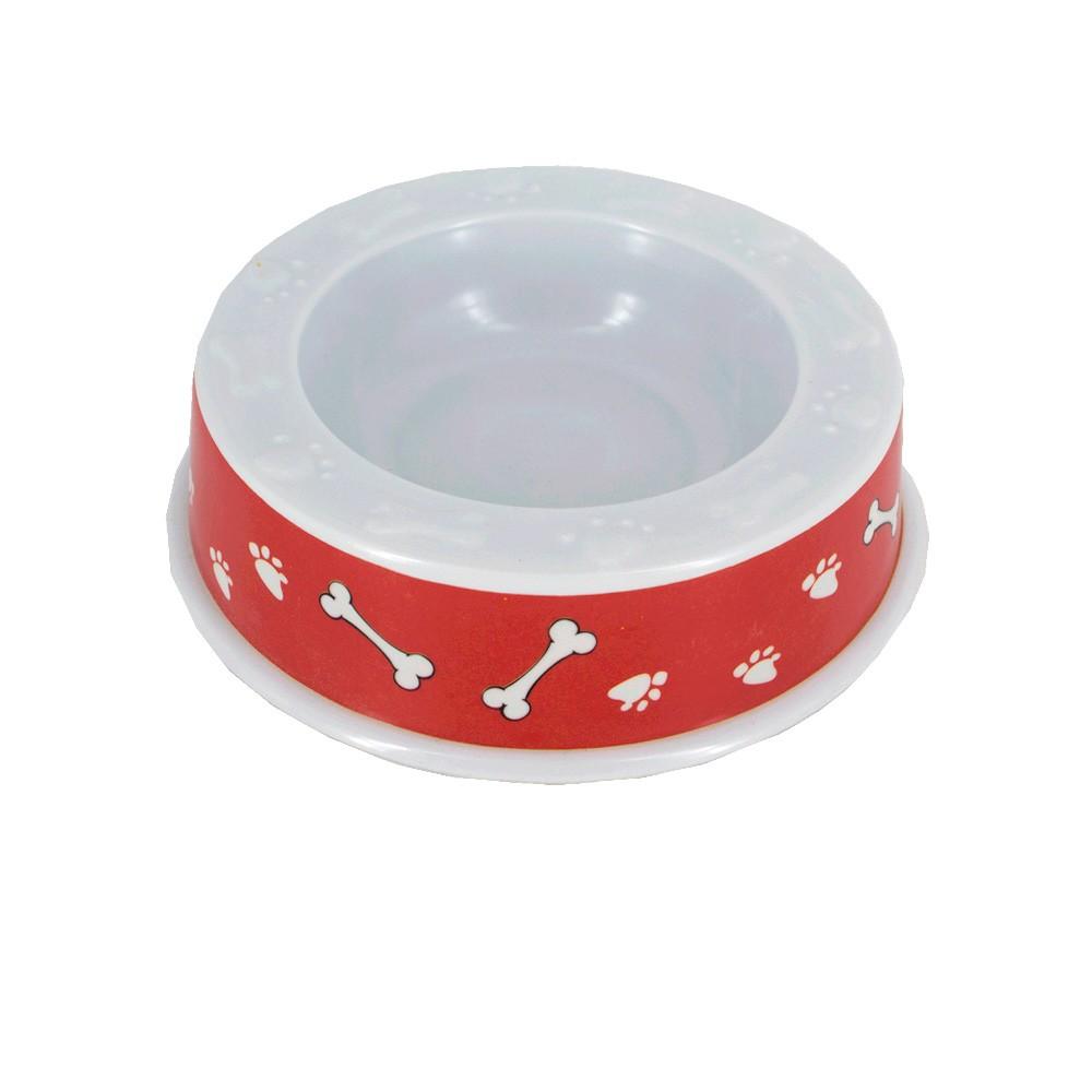Tigela Comedouro Pet Osso/patas Em Melanina - Vermelha 250ml  - Shop Ud