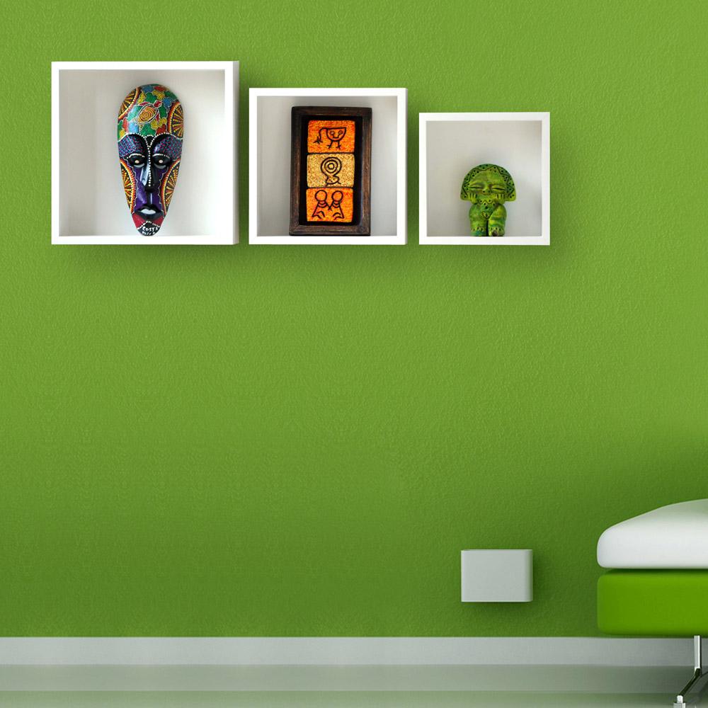 Trio de Nichos Decorativos em MDF - 3 peças - 20/25/30cm