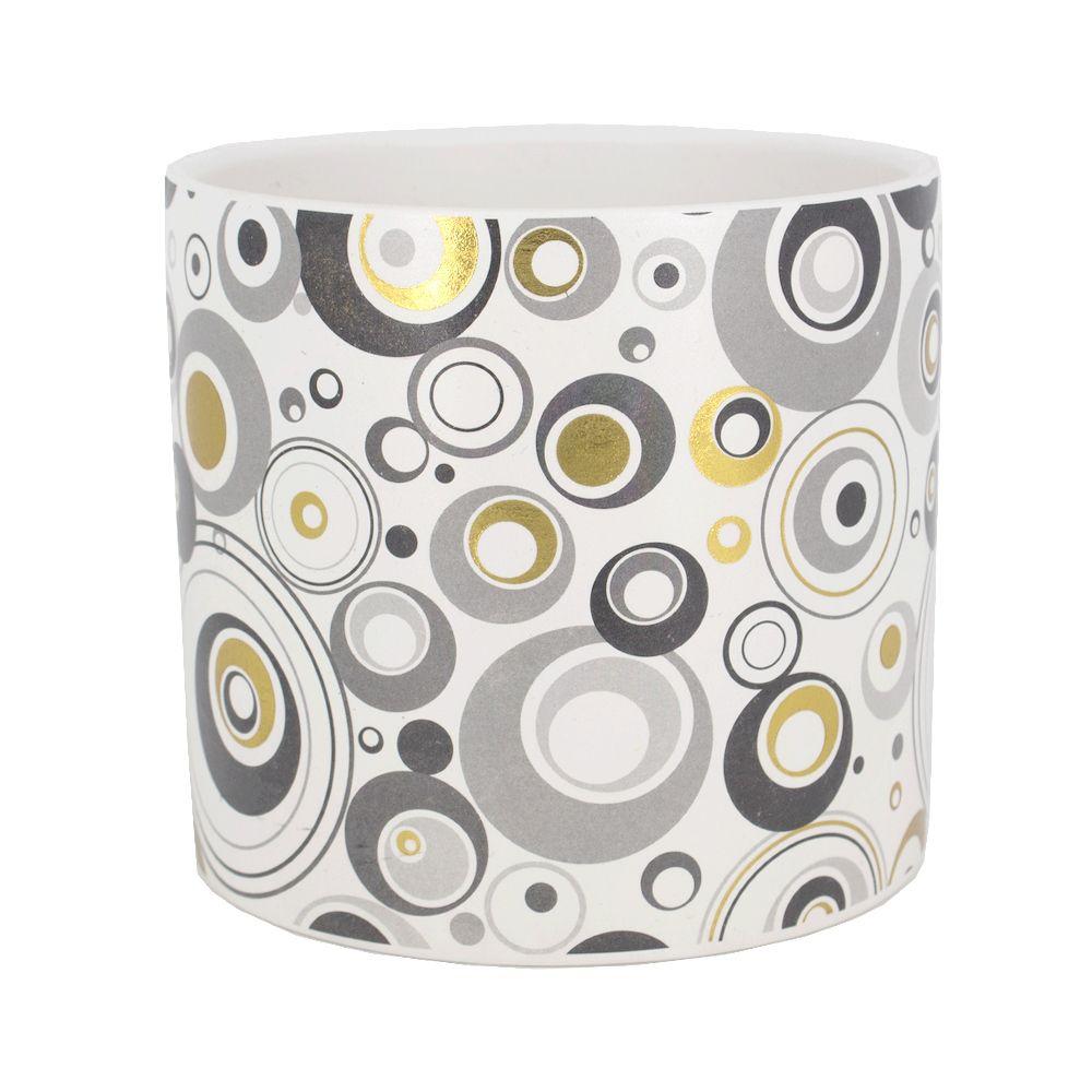 Vaso Cerâmica - Círculos Dourado Branco Cinza - 12,5 x 11cm  - Shop Ud