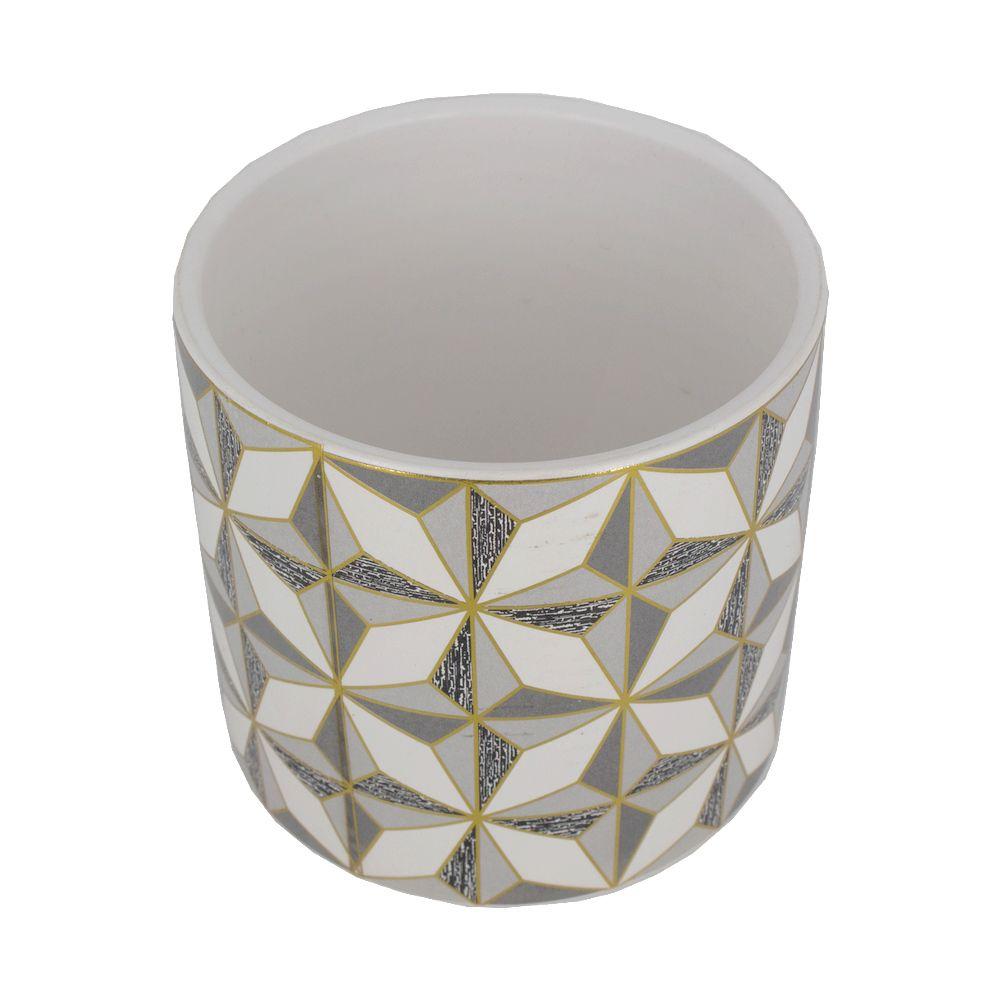 Vaso Cerâmica Quadrados Geométricos Dourado Bco CZ 12x11  - Shop Ud