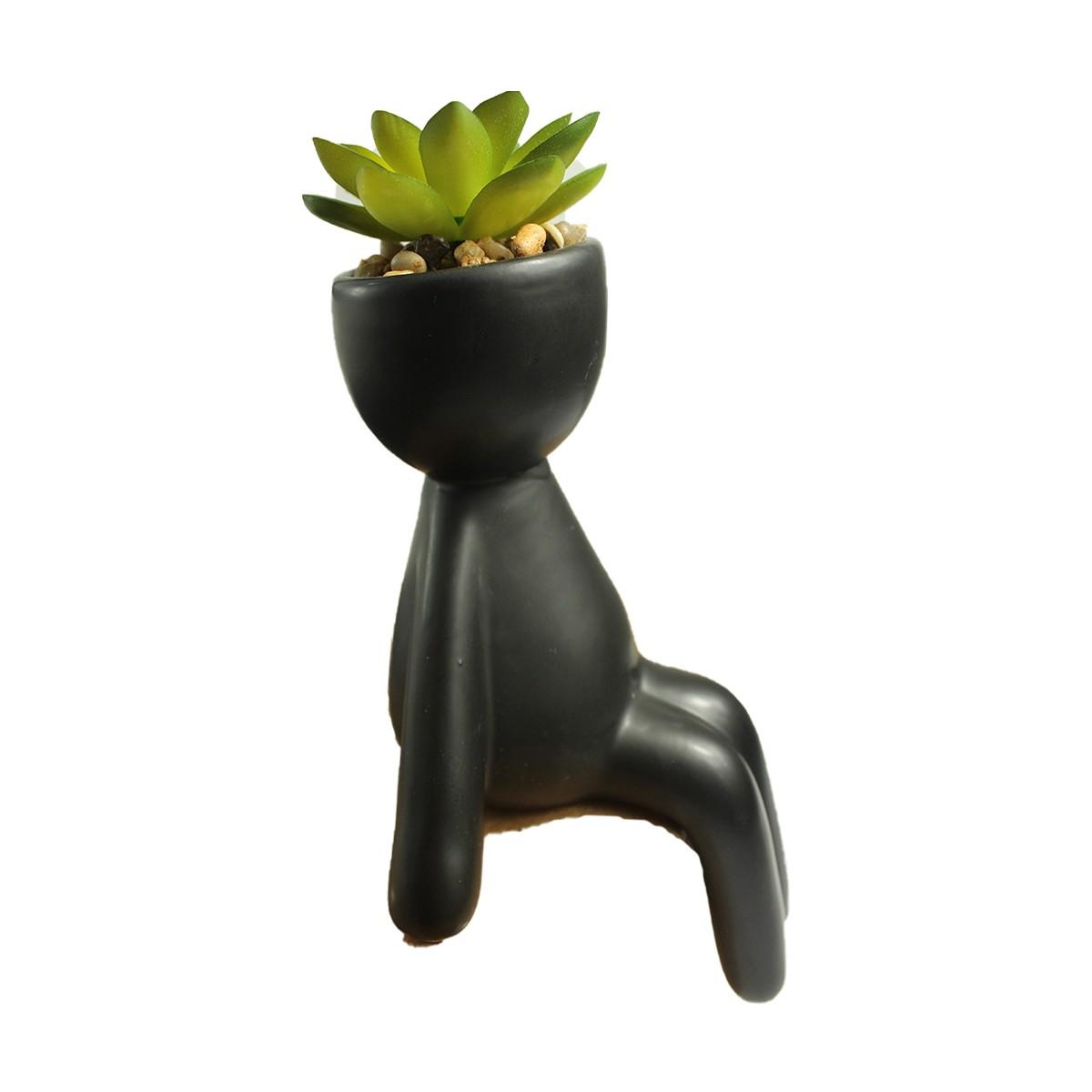 Vaso Cerâmica Suculenta Boneco Sentado Robert Plant Preto  - Shop Ud
