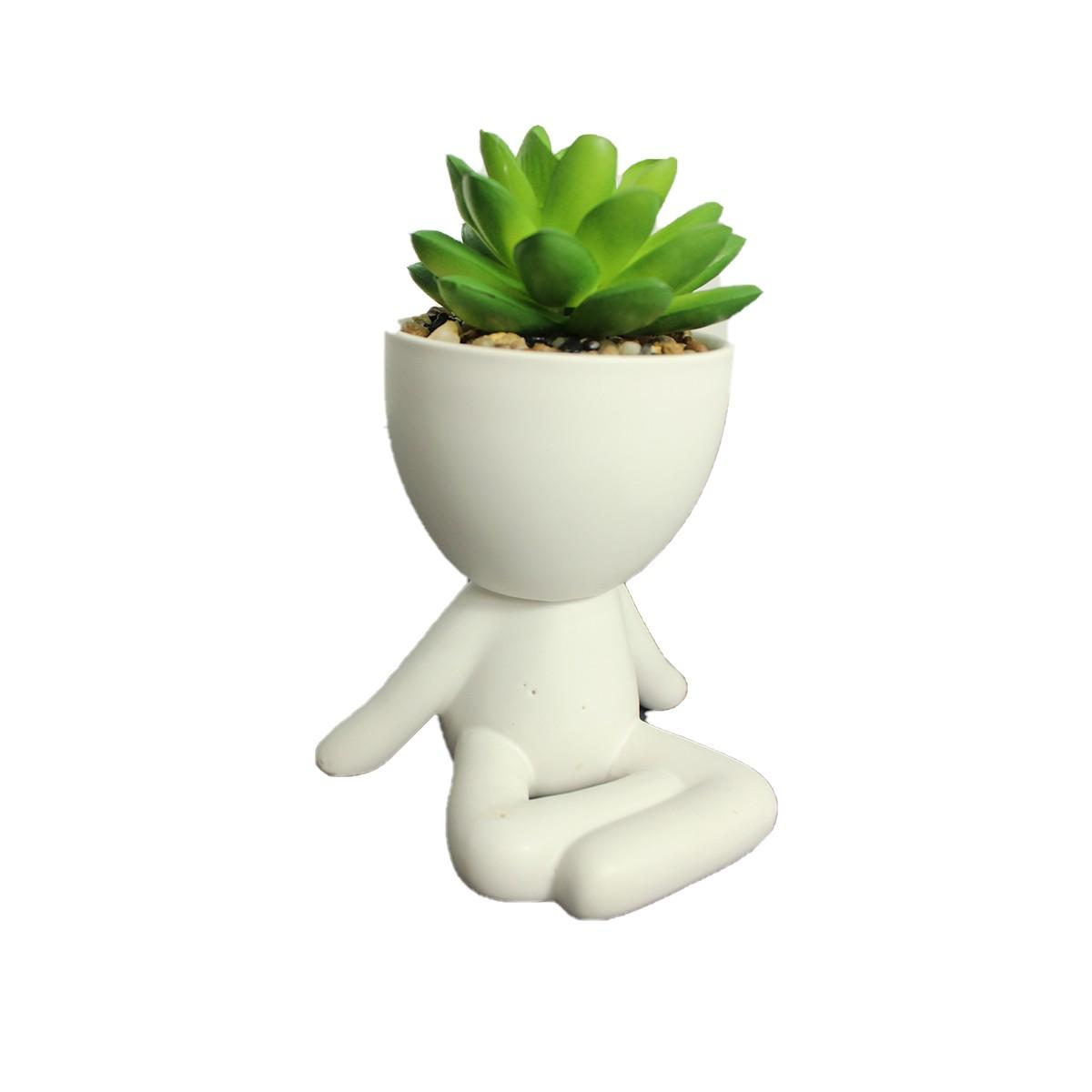 Vaso Cerâmica Suculenta RobertPlant Pernas Cruzadas Branco  - Shop Ud