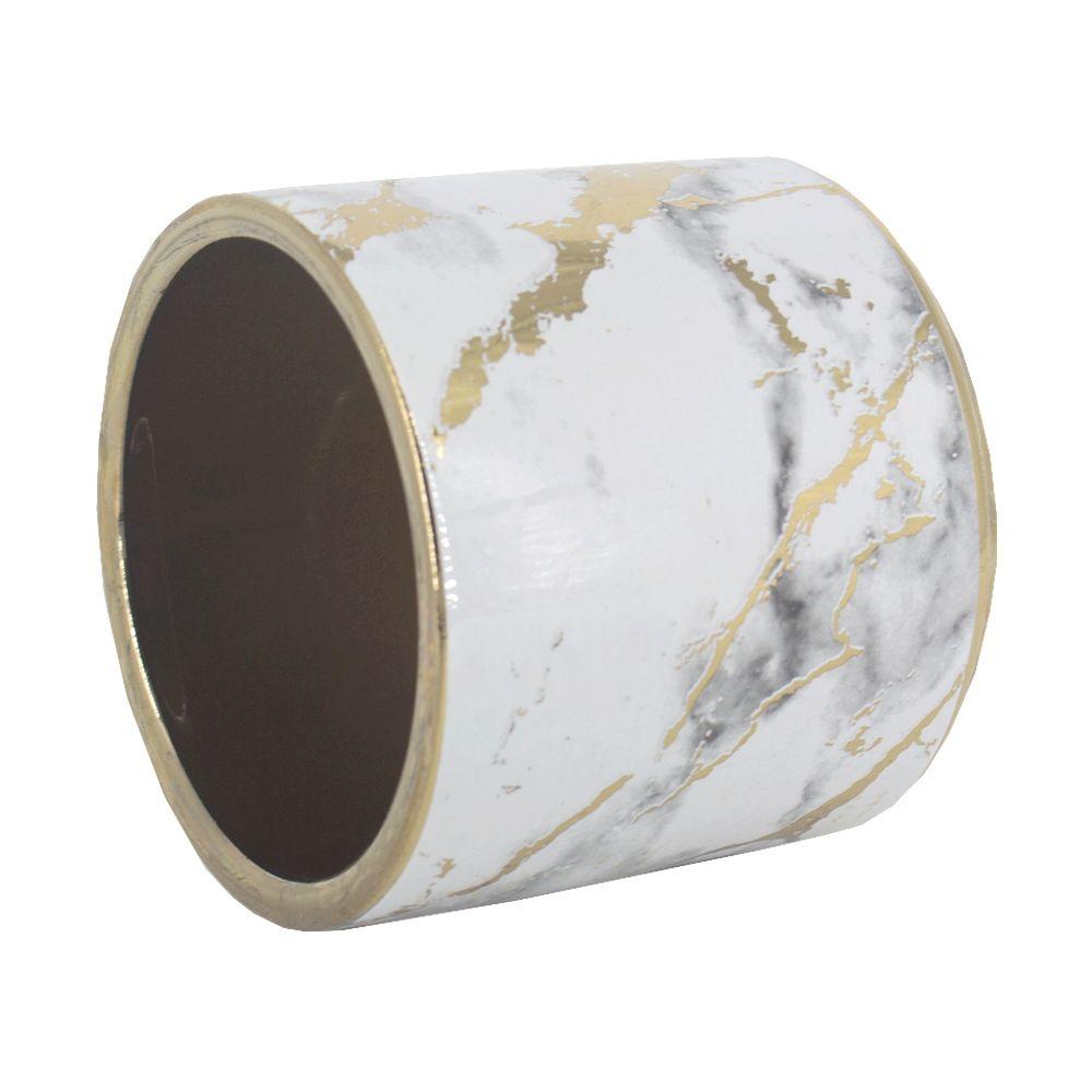 Vaso Decorativo de Cerâmica Dourado com Branco 8,5 x 9,5cm
