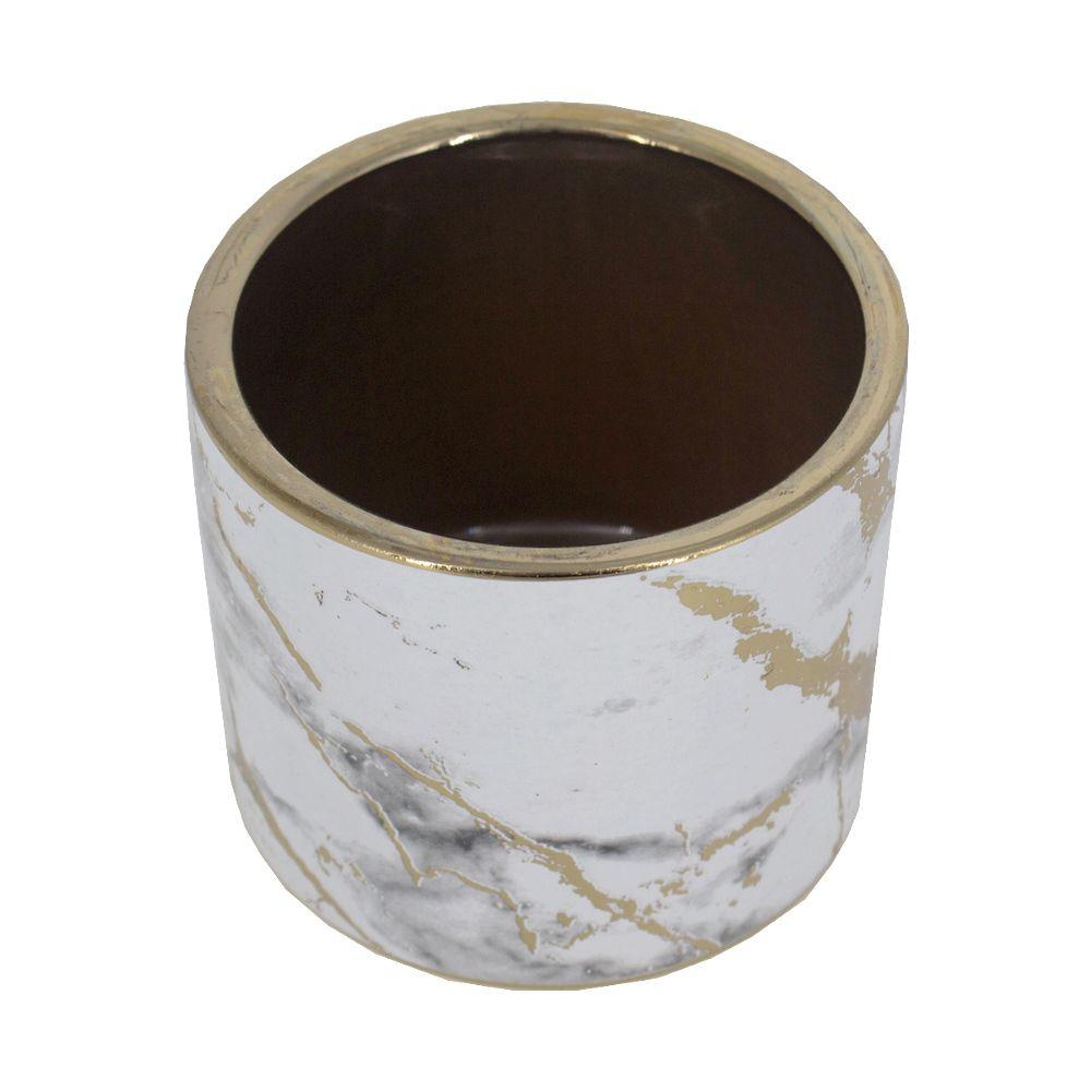 Vaso Decorativo de Cerâmica Dourado com Branco 8,5 x 9,5cm  - Shop Ud