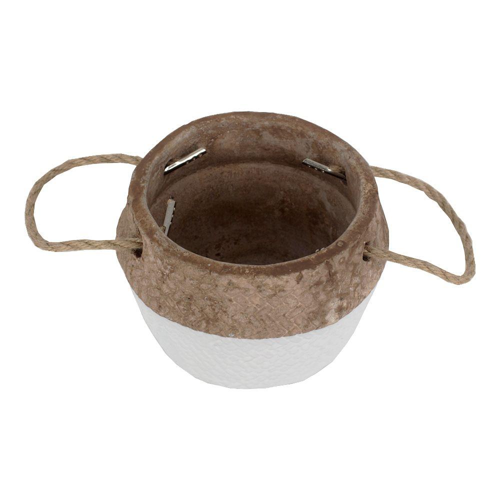 Vaso Decorativo Rústico em Cimento com Alças - Branco  - Shop Ud