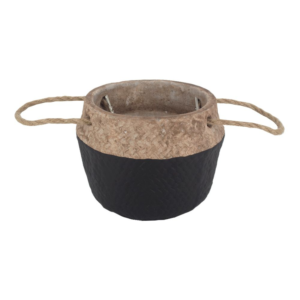 Vaso Decorativo Rústico em Cimento com Alças - Preto  - Shop Ud
