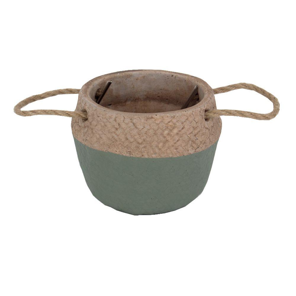 Vaso Decorativo Rústico em Cimento com Alças - Verde  - Shop Ud