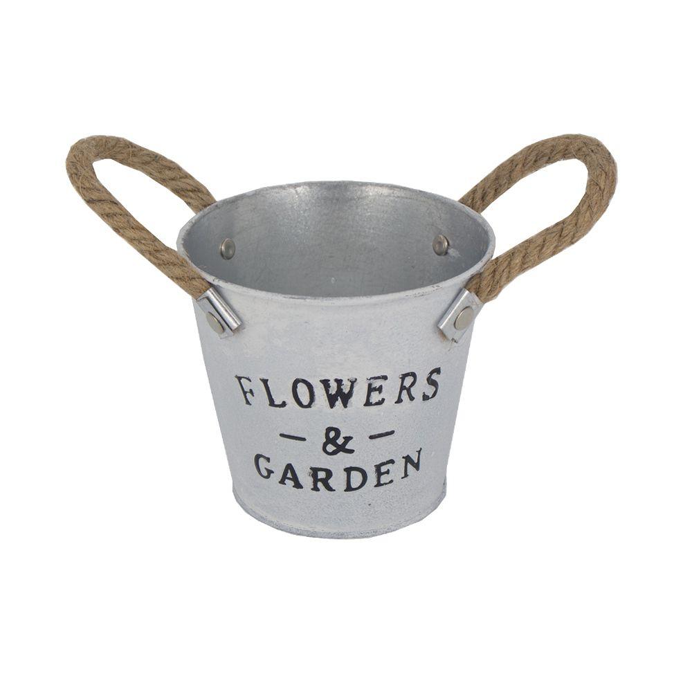Vaso em Formato de Balde Alça Flowers Garden Preto  - Shop Ud