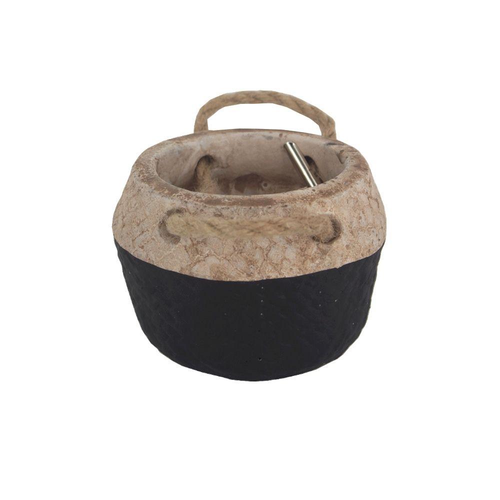 Vaso Rústico Cimento com Alças - Preto Pequeno (9x9x7cm)  - Shop Ud