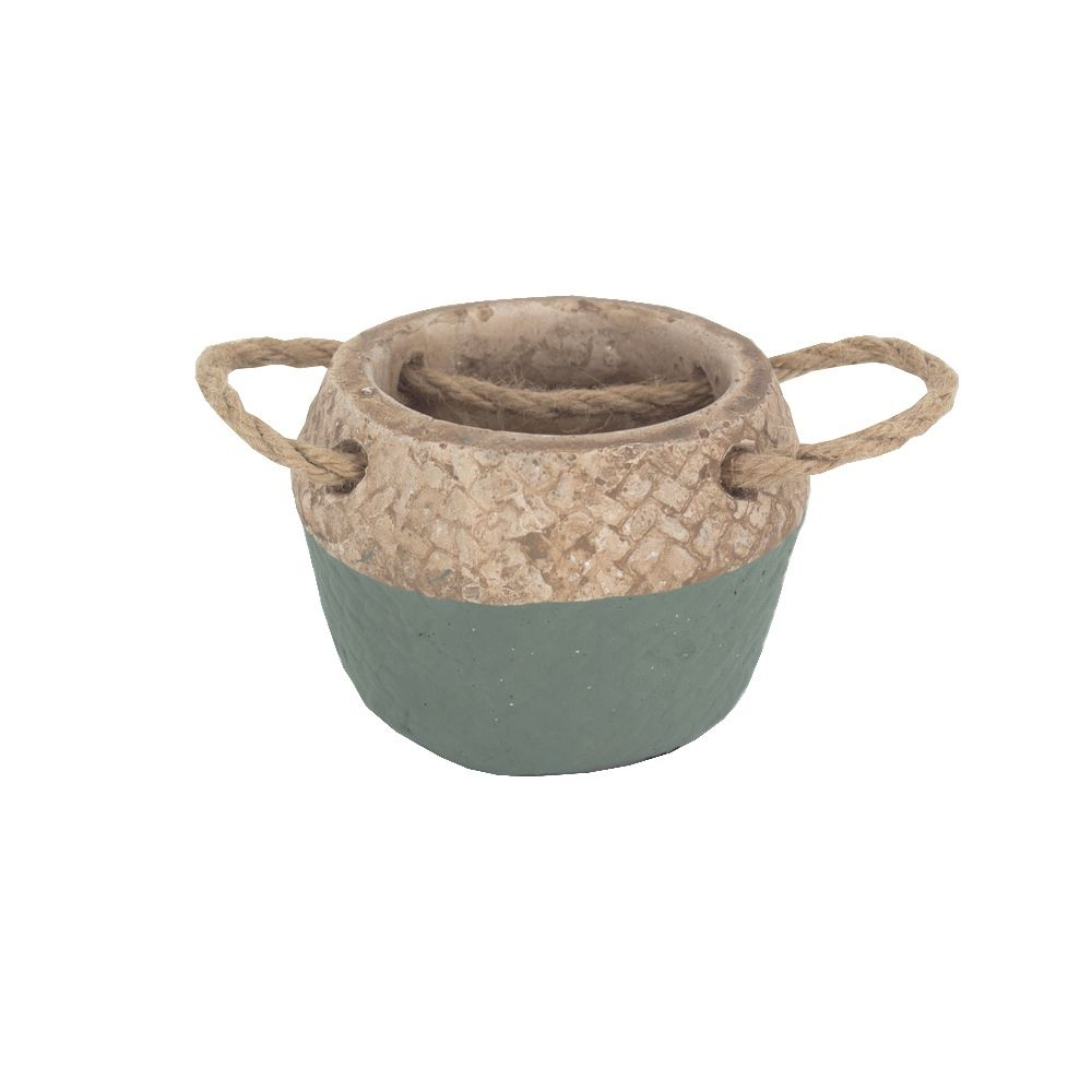 Vaso Rústico Cimento com Alças - Verde Pequeno (9x9x7cm)  - Shop Ud