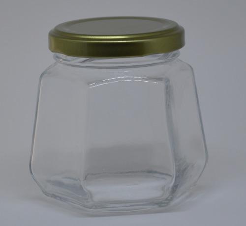 24 Potes De Vidro Sextavado 230ml - Tampa Metalizada - Para Brindes, Doce, Saladas, etc