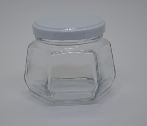 24 Potes De Vidro Sextavado 170ml - Tampa Branca - Para Doce, Brindes, etc