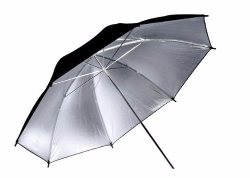 Sombrinha Refletora Para Estúdio Fotográfico Preta E Prata 84 x 59cm