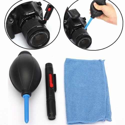 Kit Limpeza Para Câmeras Dslr Lentes Bomba Ar Caneta Pincel 3X1- CK-3