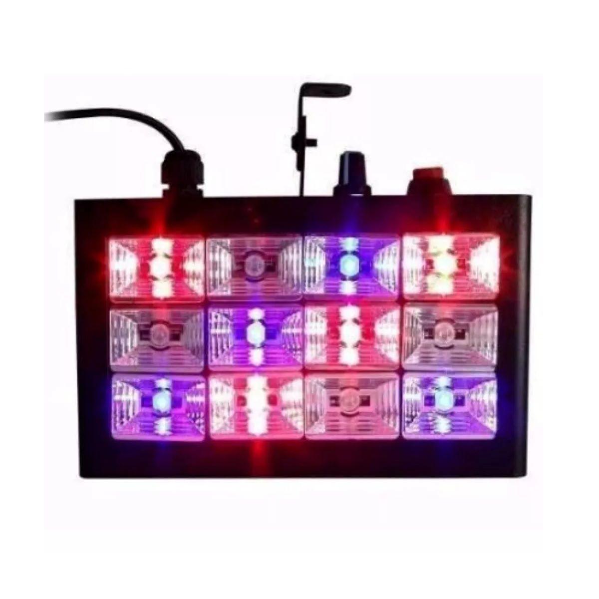 Kit 2x Strobo 12 Leds RGB 15W Rítmico Bivolt Automático