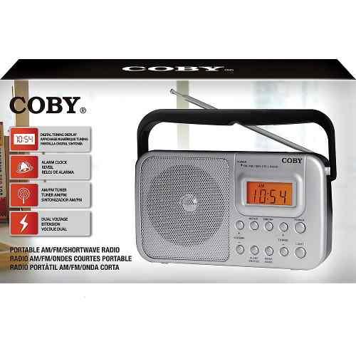 Rádio Portátil Coby AM E FM SW1/SW2 Relógio - CR201
