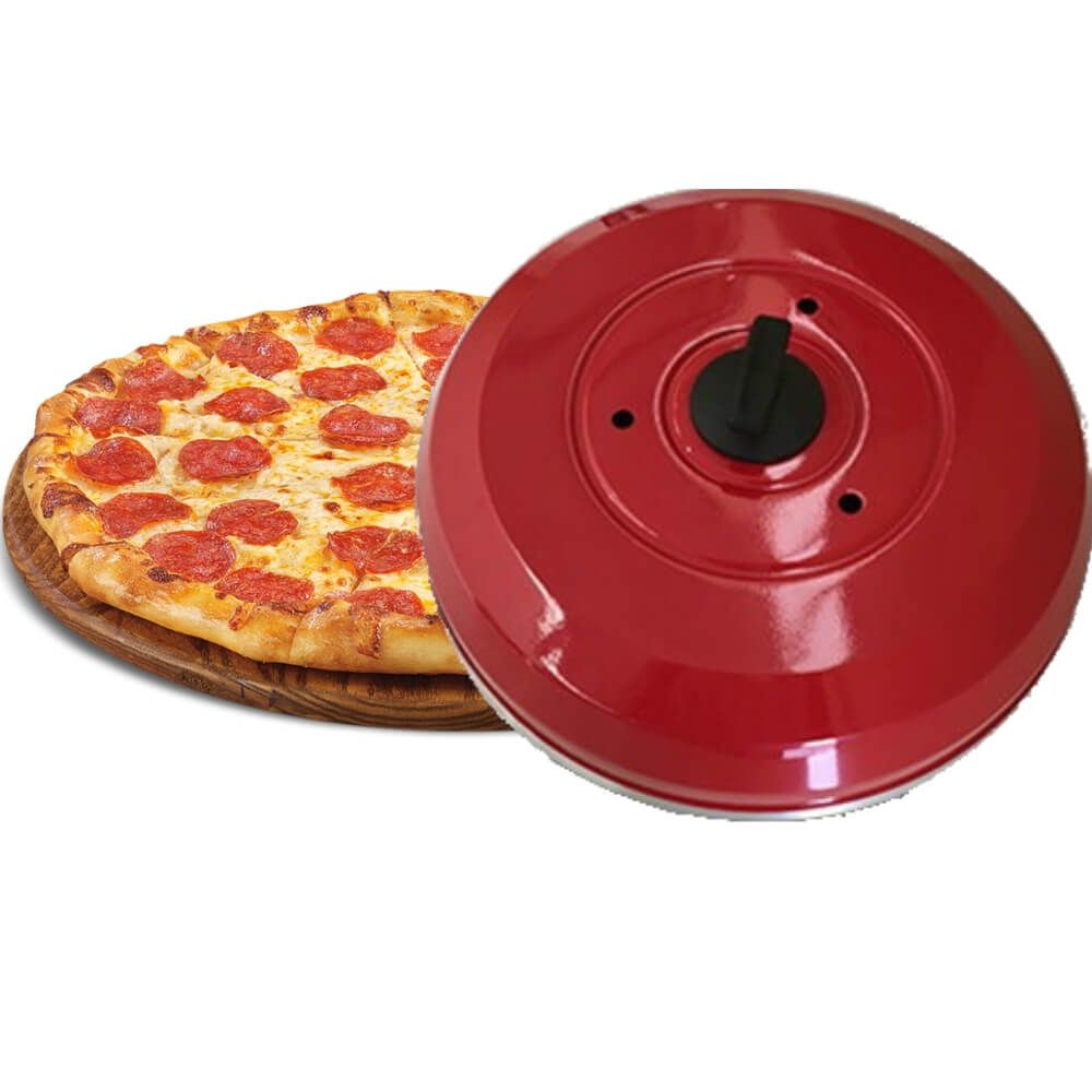 Abafador de Pizza Vermelho em Alumínio Grande 40cm