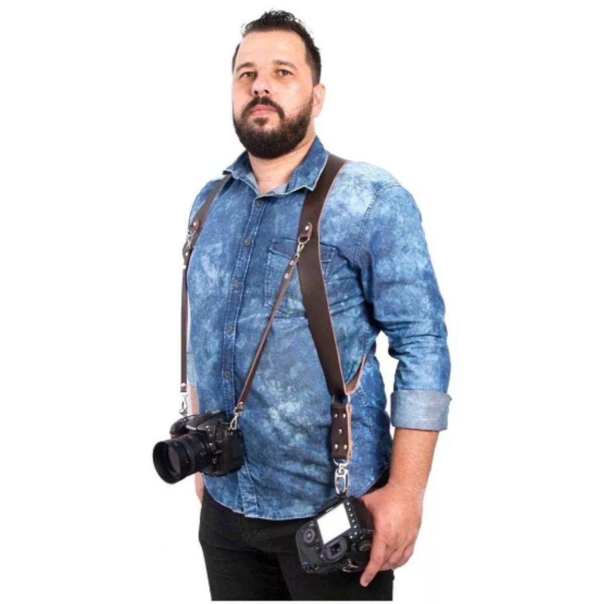 Alça Dupla Para Câmeras Em Couro Double Strap - DX