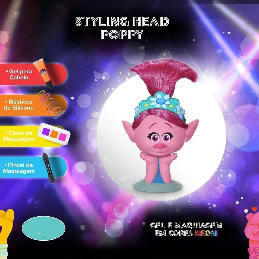 Boneca Trolls Poppy Para Pentear Cabelo Com Acessórios - 1263