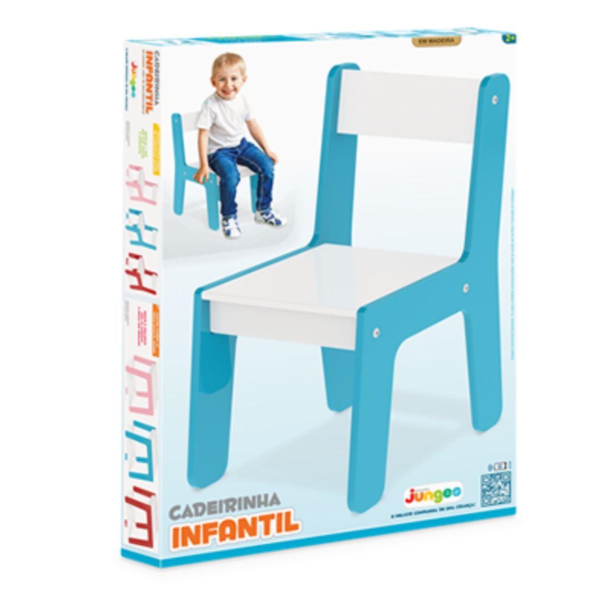 Cadeira Em Madeira Mdf Para Bebês E Crianças Infantil Azul Junges - 981