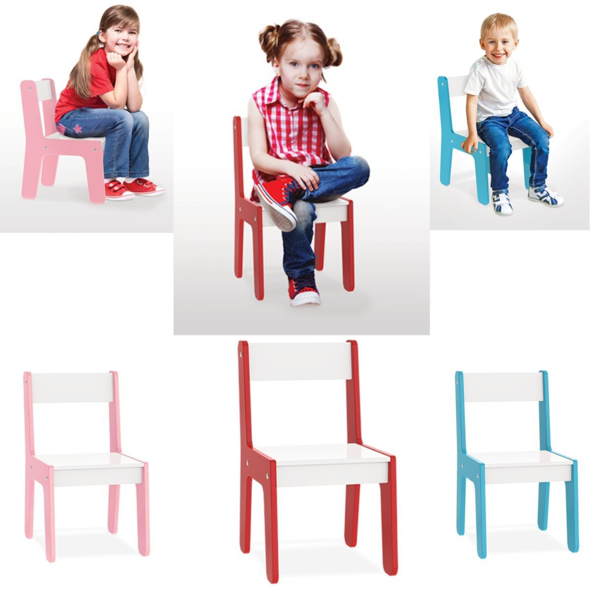 Cadeira Em Madeira Mdf Para Bebês E Crianças Infantil Vermelha Junges - 982