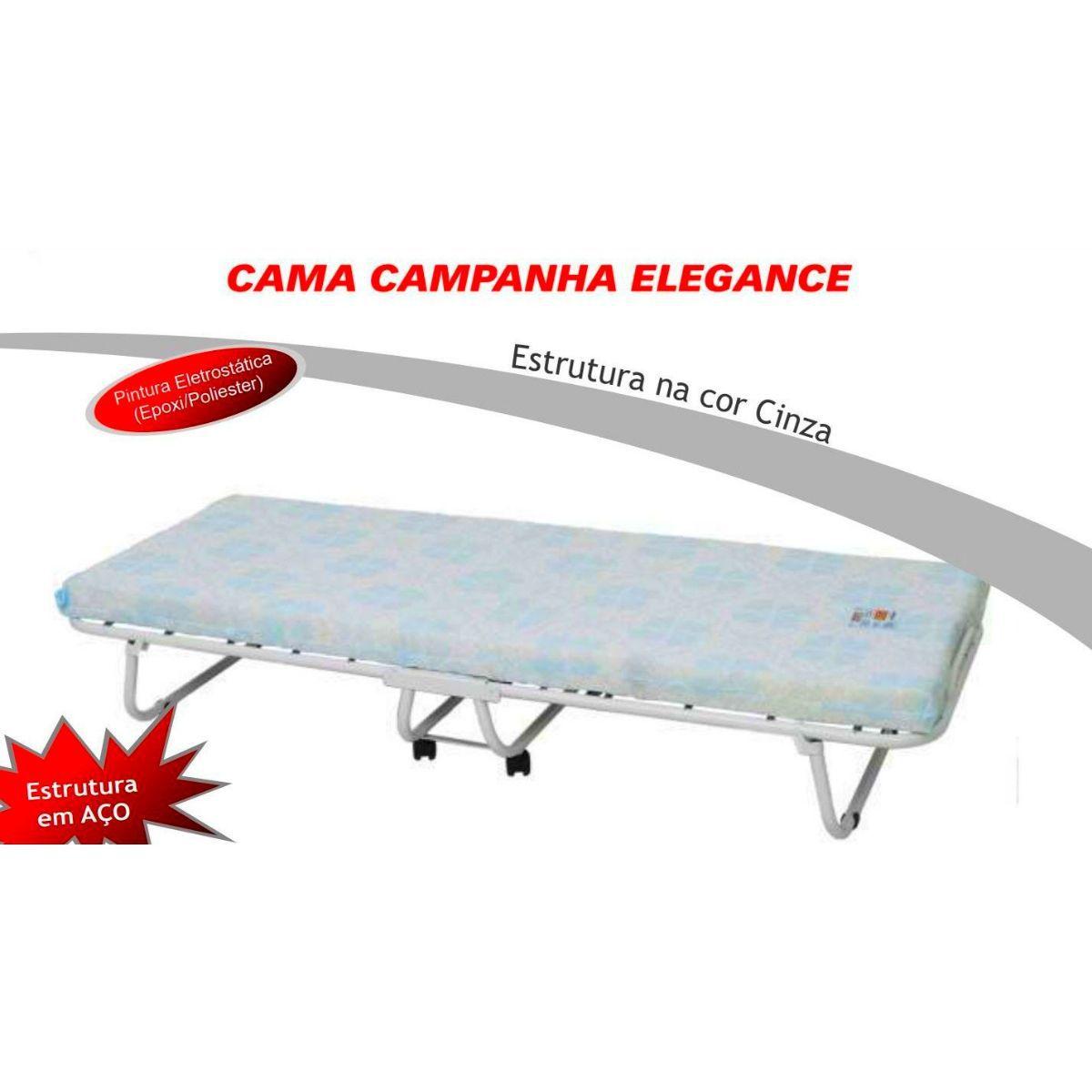 Cama Dobrável de Campanha em Aço Com Molas COM Colchonete Elegance 120kg Hashigo - H-189