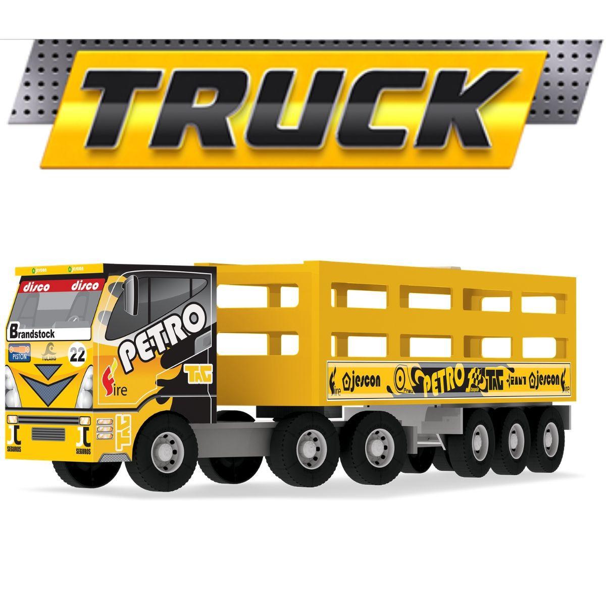 Caminhão Carreta Boiadeiro Articulável Em Madeira MDF Grande - 107
