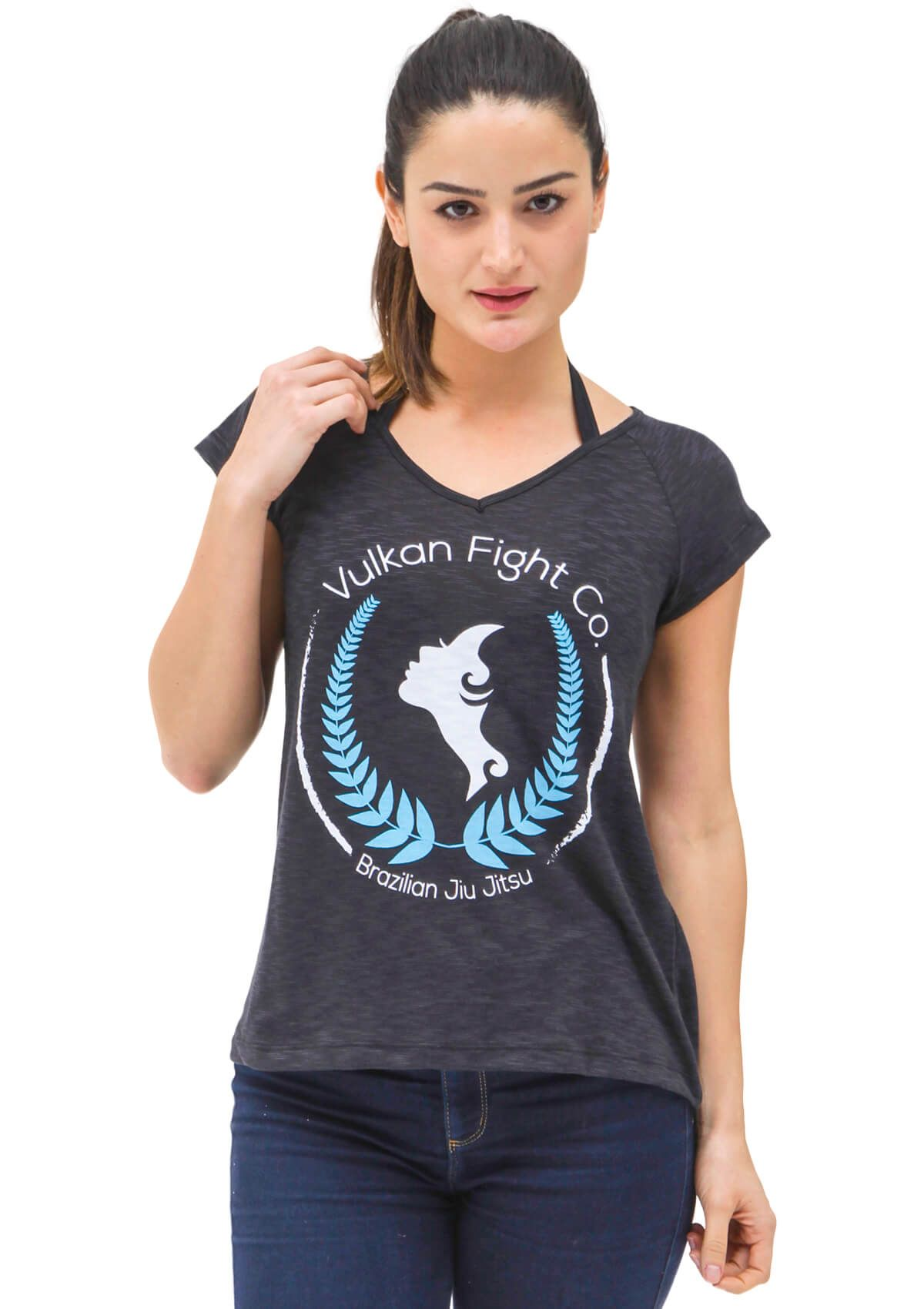 Camiseta Preta Jiu Jitsu Feminina Vulkan - FOREVER PRETA
