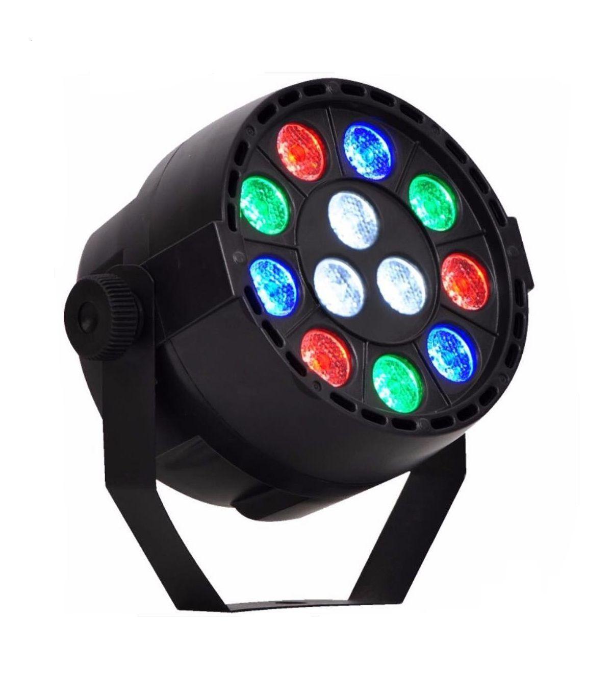 Canhão de Luz Par 12 LEDs 1W RGB DMX Strobo Painel Digital - HL-Q012