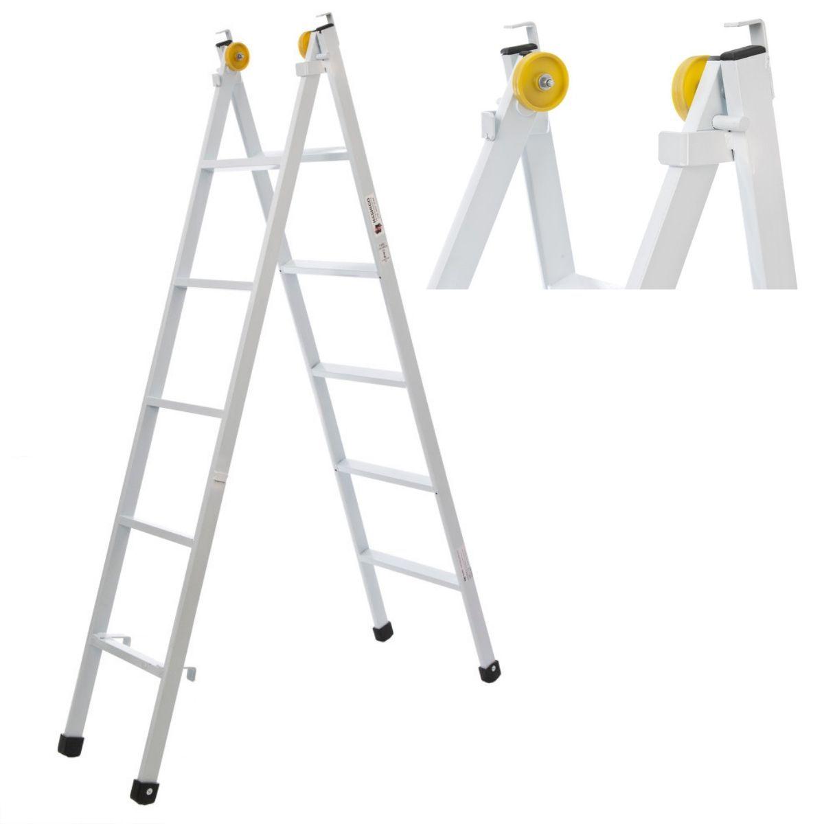 Escada Extensiva 5 Degraus De Aço Com Rodas De Deslizamento 2,6M Hashigo - 5D - H-063