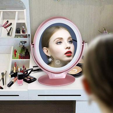 Espelho De Mesa Para Maquiagem Touch Com Led Usb Dupla Face Aumentativo - AF-802