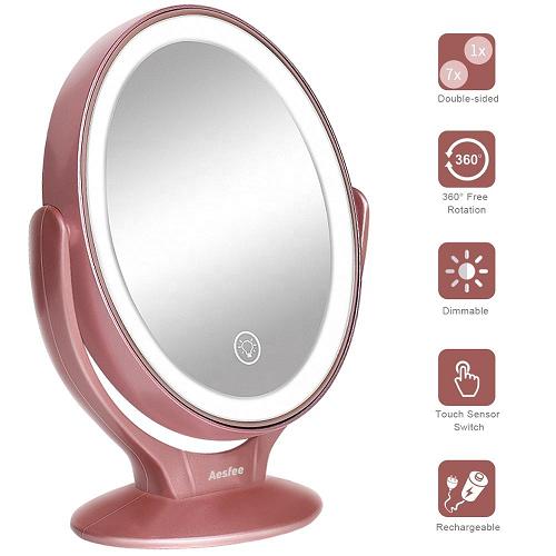 Espelho De Mesa Para Maquiagem Touch Com Led Usb Dupla Face Aumentativo - AF-802 - FULLFILMENT JULINETSHOP