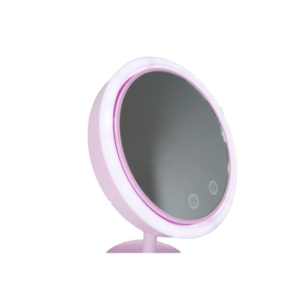 Espelho Portátil Para Máquiagem Com Luz Led E Ventilador - XZ-A001 Rosa