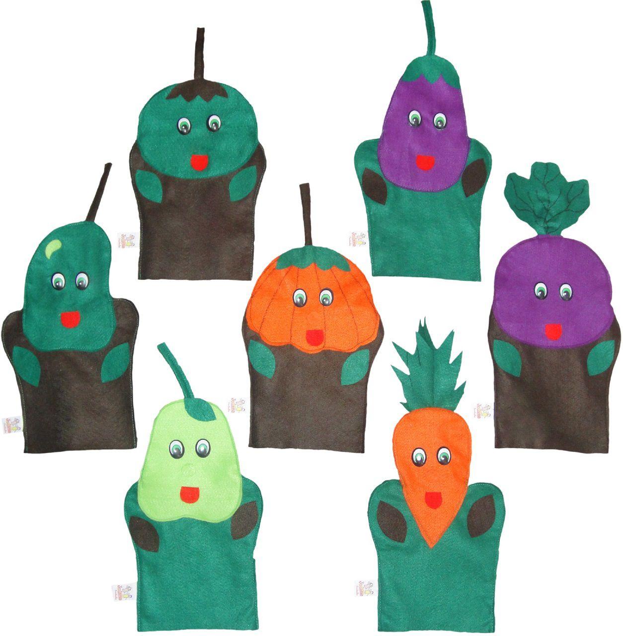 Fantoches em Feltro Legumes - 7 Peças - Jodane 1018