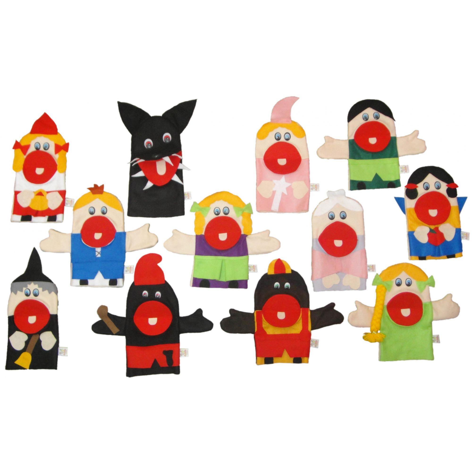 Fantoches em Feltro Personagens Infantis - 12 Peças - Jodane 1021