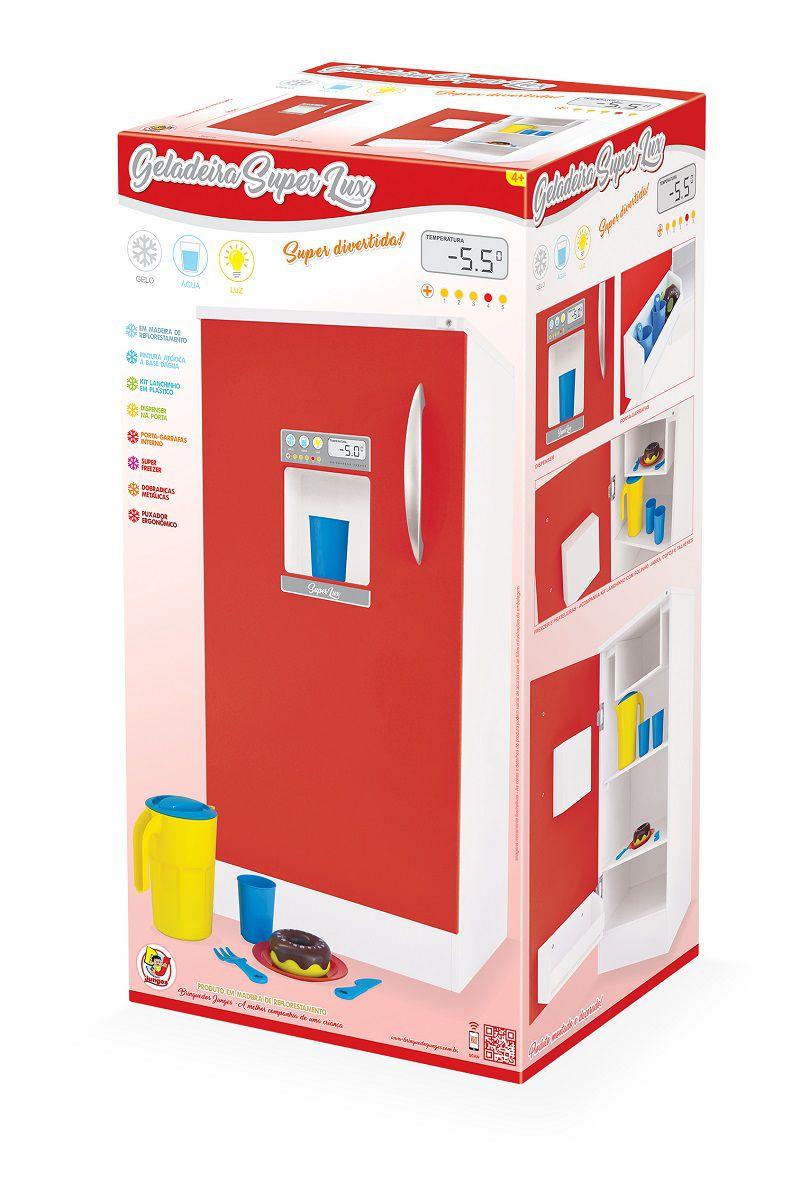 Geladeira de Brinquedo Super Lux Vermelha Junges - 522