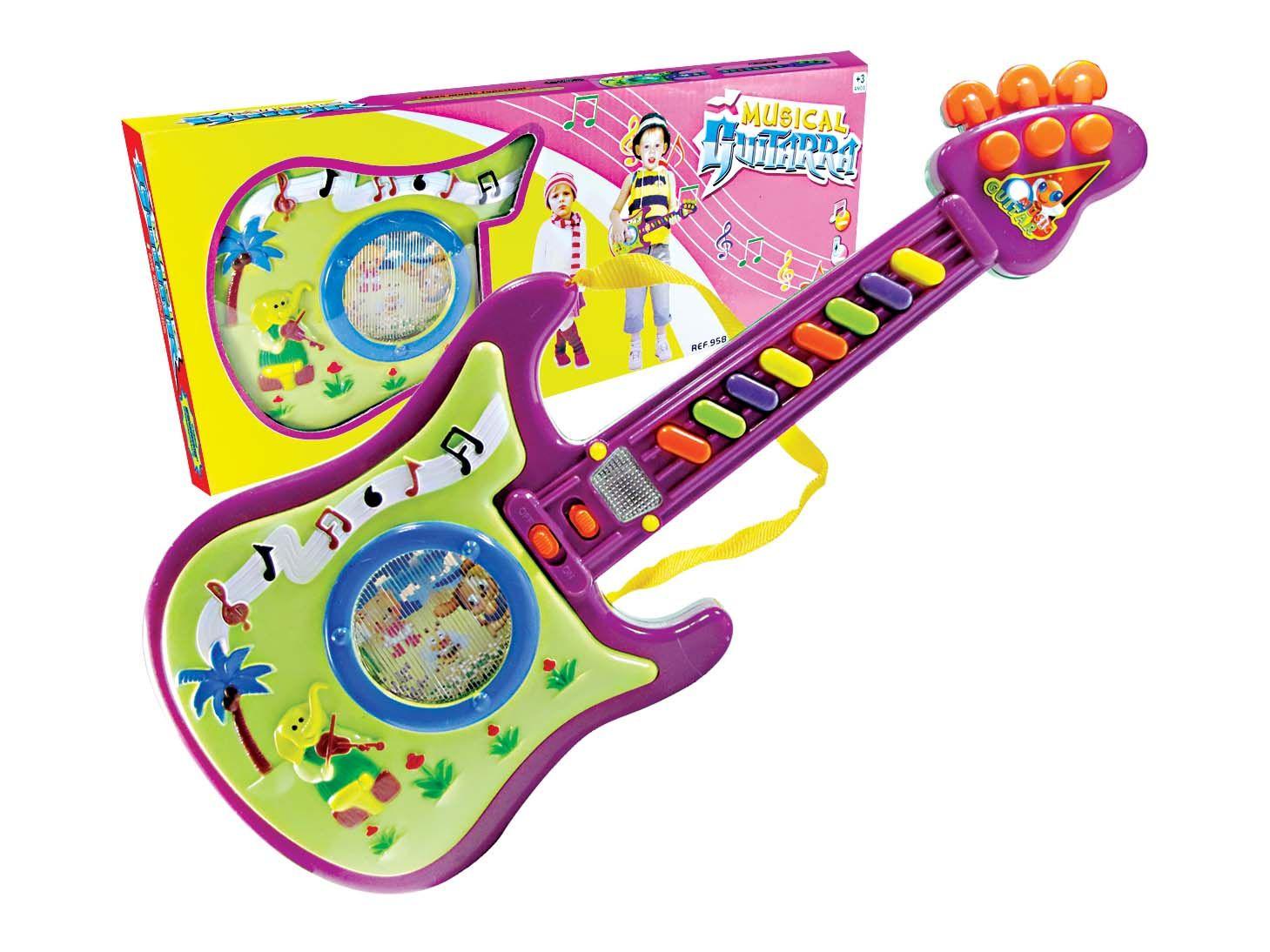 Guitarra Infantil Musical Colorida Com Luz e Sons Diversos - 958